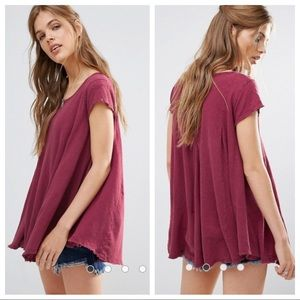 Free People Sylvie Flowy Tee in Shiraz